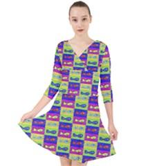 Cartoon Style Marine Life Motif Pattern Quarter Sleeve Front Wrap Dress by dflcprints
