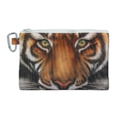 The Tiger Face Canvas Cosmetic Bag (large) by Samandel