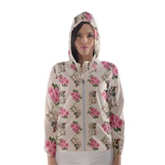 Retro Dog Floral Pattern Ecru Hooded Windbreaker (women) by snowwhitegirl