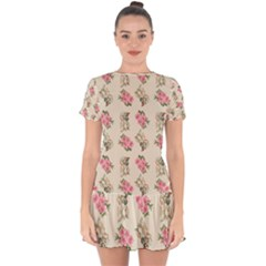 Retro Dog Floral Pattern Ecru Drop Hem Mini Chiffon Dress