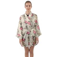 Retro Dog Floral Pattern Ecru Long Sleeve Kimono Robe by snowwhitegirl