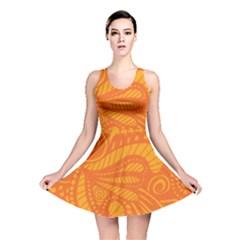 Pop Orange Reversible Skater Dress by ArtByAmyMinori