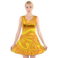 Pop Sunny V Neck Sleeveless Dress by ArtByAmyMinori