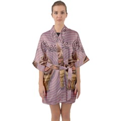 Pop Art Ice Cream Quarter Sleeve Kimono Robe by Valentinaart