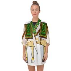 Elephant Indian Animal Design Half Sleeve Chiffon Kimono by Samandel