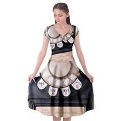 Vintage Payphone Cap Sleeve Wrap Front Dress by Samandel