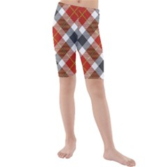 Smart Plaid Warm Colors Kids  Mid Length Swim Shorts by ImpressiveMoments