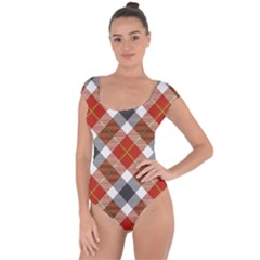 Smart Plaid Warm Colors Short Sleeve Leotard  by ImpressiveMoments