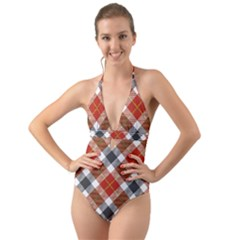Smart Plaid Warm Colors Halter Cut-out One Piece Swimsuit by ImpressiveMoments