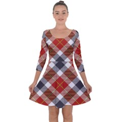 Smart Plaid Warm Colors Quarter Sleeve Skater Dress by ImpressiveMoments
