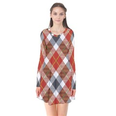 Smart Plaid Warm Colors Long Sleeve V-neck Flare Dress by ImpressiveMoments