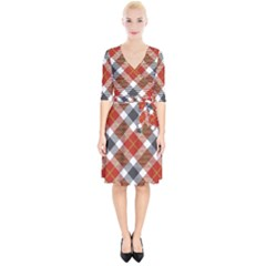 Smart Plaid Warm Colors Wrap Up Cocktail Dress by ImpressiveMoments