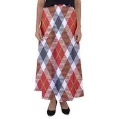 Smart Plaid Warm Colors Flared Maxi Skirt by ImpressiveMoments