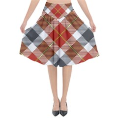 Smart Plaid Warm Colors Flared Midi Skirt by ImpressiveMoments