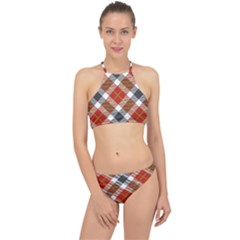 Smart Plaid Warm Colors Racer Front Bikini Set by ImpressiveMoments