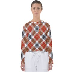 Smart Plaid Warm Colors Women s Slouchy Sweat by ImpressiveMoments