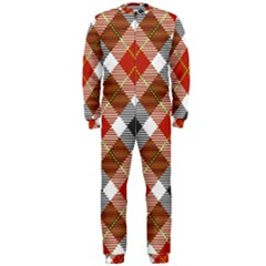 Smart Plaid Warm Colors Onepiece Jumpsuit (men)  by ImpressiveMoments