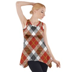Smart Plaid Warm Colors Side Drop Tank Tunic by ImpressiveMoments