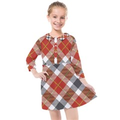 Smart Plaid Warm Colors Kids  Quarter Sleeve Shirt Dress by ImpressiveMoments