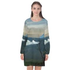 Bromo Caldera De Tenegger  Indonesia Long Sleeve Chiffon Shift Dress  by Samandel