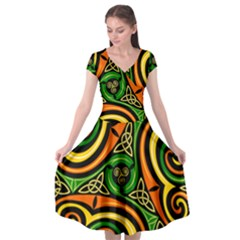Celtic Celts Circle Color Colors Cap Sleeve Wrap Front Dress by Samandel