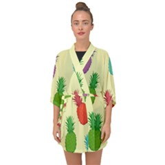 Colorful Pineapples Wallpaper Background Half Sleeve Chiffon Kimono by Samandel