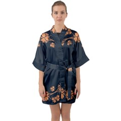 Floral Vintage Royal Frame Pattern Quarter Sleeve Kimono Robe by Samandel