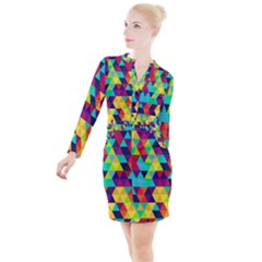 Bright Color Triangles Seamless Abstract Geometric Background Button Long Sleeve Dress