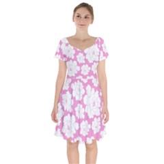 Beauty Flower Floral Pink Short Sleeve Bardot Dress