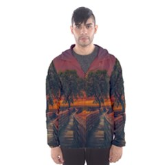 Wonderful Fantasy Sunset Wallpaper Tree Hooded Windbreaker (men) by Alisyart