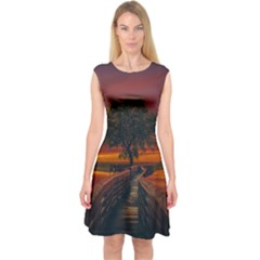 Wonderful Fantasy Sunset Wallpaper Tree Capsleeve Midi Dress