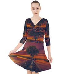 Wonderful Fantasy Sunset Wallpaper Tree Quarter Sleeve Front Wrap Dress
