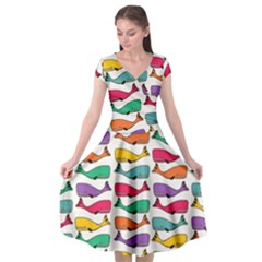 Fish Whale Cute Animals Cap Sleeve Wrap Front Dress by Alisyart