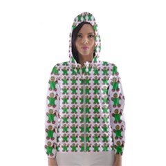 Gingerbread Men Seamless Green Background Hooded Windbreaker (women) by Alisyart