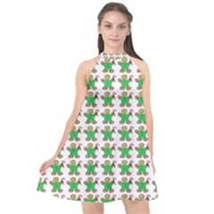 Gingerbread Men Seamless Green Background Halter Neckline Chiffon Dress