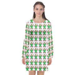 Gingerbread Men Seamless Green Background Long Sleeve Chiffon Shift Dress