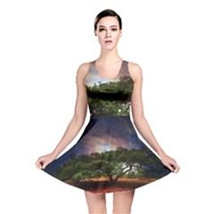 Lone Tree Fantasy Space Sky Moon Reversible Skater Dress by Alisyart