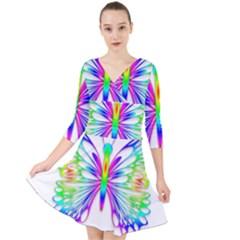 Rainbow Butterfly Quarter Sleeve Front Wrap Dress by amazinganimals