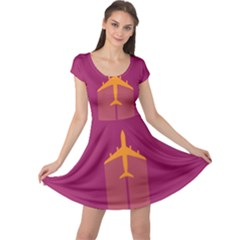 Airplane Jet Yellow Flying Wings Cap Sleeve Dress