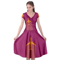 Airplane Jet Yellow Flying Wings Cap Sleeve Wrap Front Dress