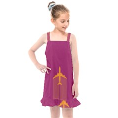 Airplane Jet Yellow Flying Wings Kids  Overall Dress by Nexatart
