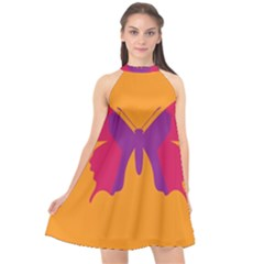 Butterfly Wings Insect Nature Halter Neckline Chiffon Dress  by Nexatart