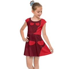 Skull Alien Species Red Character Kids Cap Sleeve Dress by Nexatart