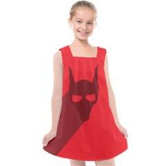 Skull Alien Species Red Character Kids  Cross Back Dress by Nexatart