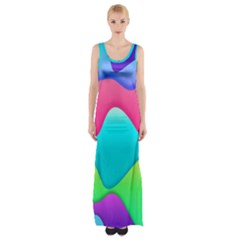 Lines Curves Colors Geometric Lines Maxi Thigh Split Dress