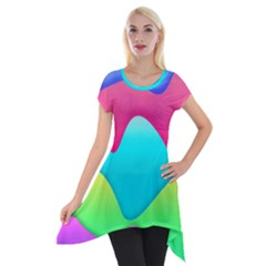 Lines Curves Colors Geometric Lines Short Sleeve Side Drop Tunic by Nexatart