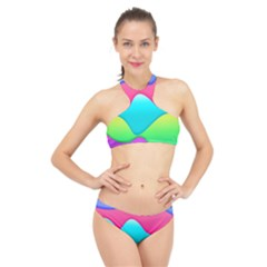 Lines Curves Colors Geometric Lines High Neck Bikini Set by Nexatart