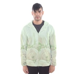 Pastel Roses Background Romantic Hooded Windbreaker (men) by Nexatart