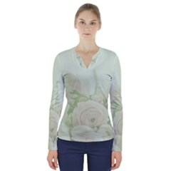 Pastel Roses Background Romantic V Neck Long Sleeve Top