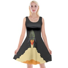 Rocket Space Stars Reversible Velvet Sleeveless Dress by Nexatart